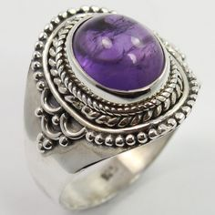 Ethnic Design Ring Size US 7.25 Natural AMETHYST Gemstone 925 Sterling Silver #Unbranded #Fashion