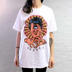 A photo of the 4 colour CMYK t-shirt we screen printed for competition winner Samuel B. Thorne.