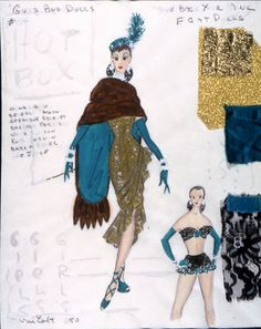 Alvin Colt's original design for Adelaide's costume in Guys and Dolls. #theater