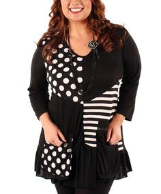 Take a look at this Black Polka Dot Patchwork Tunic - Plus by Aster on #zulily today!