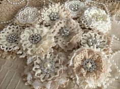 ALMOST SOLD OUT 5 shabby chic lace handmade flowers
