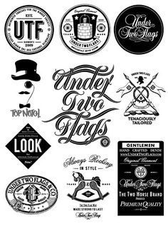 logos design typography black and white gentleman retro
