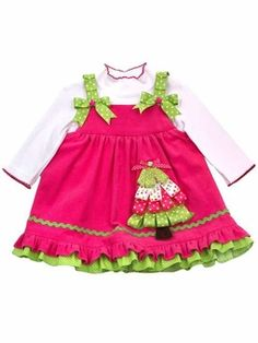 Looking for a modern twist on a traditional Christmas dress? - This FUN Christmas Tree jumper dress in vibrant fuchsia pink with bright lime green by Rare Editions fits the bill! Christmas Tree Jumper, Baby Girl Christmas, Christmas Dresses, Christmas Stuff, Christmas Ideas, Green Christmas, Christmas Baby, Holiday Dresses, Holiday Fun