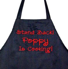 Poppy Apron, Funny BBQ, Chef Full Mans, With Pocket, Custom Grandparent Birthday Gift, Personalize With Name, Popser, Ships TODAY, AGFT 197 Grandpa Gifts, Gifts For Dad, Etsy Handmade, Handmade Items, Pinterest Advertising, Grilling Gifts, Embroidered Sweatshirts, Grandparent Gifts, Sewing Studio