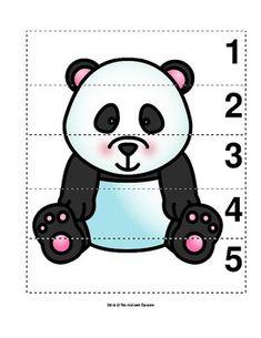Number Sequence Preschool Picture Puzzle - Giant Panda from Worksheet Teacher Preschool Zoo Theme, Preschool Worksheets, Preschool Learning, Preschool Crafts, Number Worksheets, Panda Activities, Toddler Activities, Preschool Activities, Preschool Pictures
