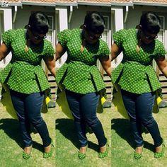 Top Green shweshwe dresses for 2018 - Reny styles Girl Fashion, Womens Fashion, Fashion Design, Shweshwe Dresses, African Print Fashion, Vintage Girls, Outfit, Plus Size Fashion, How To Wear