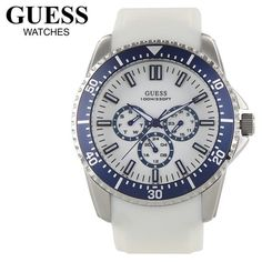 outlet store cc919 10f0e GUESS White Mens Watch