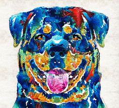 Colorful Rottie Dog Rottweiler Animal Art by BuyArtSharonCummings