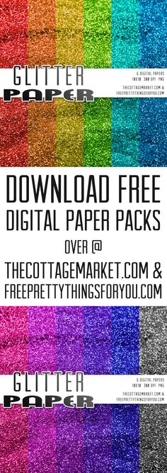 Free Glitter Digital Scrapbooking Paper Pack - The Cottage Market
