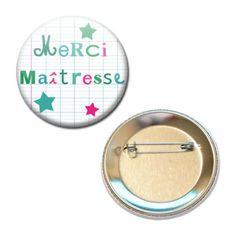 MERCI-MAITRESSE-CAHIER-FLUO-VERT-ENFANT-ECOLE-CADEAU-56MM-PIN-BADGE-BUTTON #cadeau #maitresse #vacance #idee #badge #ecole
