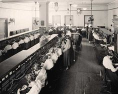 Telephone operators between 1905 - 1945.  To be a telephone operator, a woman  had to be unmarried, between the ages of seventeen and twenty-six. 