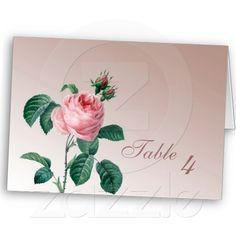 Pink Mist Rose Wedding Table Number Cards