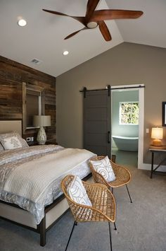 Alamo Farmhouse Master Bedroom Www.lmkinteriors,com