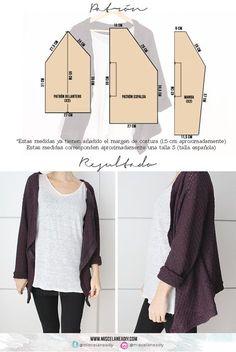Patrón para hacer esta chaqueta con mangas ranglan, muy fácil de hacer. Clothing Patterns, Dress Patterns, Sewing Patterns, Sewing Clothes, Diy Clothes, Sewing Hacks, Sewing Tutorials, Kimono Shrug, Make Your Own Clothes