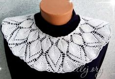 "Round coquette with embossed leaves ""Kaleidoscope"" Crochet Collar, Crochet Blouse, Knit Crochet, Crochet Clothes, Cross Stitch Embroidery, Crochet Necklace, Knitting, Accessories, Boleros"