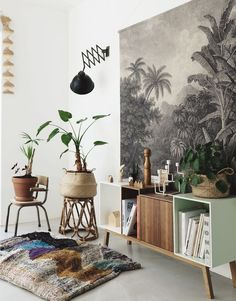 Home Design Ideas: Home Decorating Ideas Modern Home Decorating Ideas Modern Urban jungle interior Modern House Design, Modern Interior Design, Home Design, Deco Buffet, Living Room Decor, Living Spaces, Deco Jungle, Hygge, Interior Inspiration