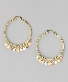 Look at this #zulilyfind! Gold Disk Hoop Earrings by Sevil Designs #zulilyfinds