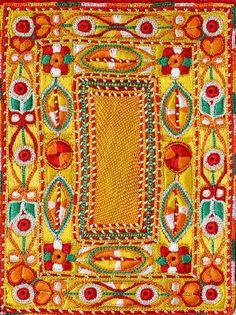 Le tapis d'Orient, création Pascal Jaouen. Techniques utilisées : point de chaînette, point Laouig, point de reprise et de feston.