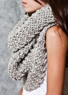 Gray Oversized Knitted Scarf