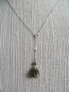 A Drop of Nature, Raindrop Necklace, Sterling Silver Drop Necklace, Natural Semi Precious Stone
