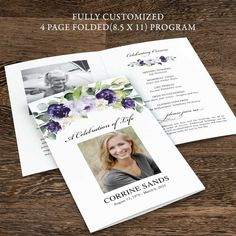 A Funeral program created with beautiful purple roses and areas for photos and all of your text customized for you. Receive your digital proofs for the memorial service outline within 24 hours.
