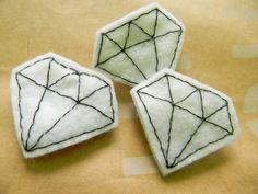 felt diamond pins by lindsay harmony, via Flickr