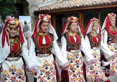 Bulgarian women in folk dress