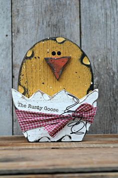 Easter Decor, Spring Chick, Easter Chick, Rustic Easter, Farmhouse Easter, Wood Chick, Primitive Easter, Broken Egg Chick, Cracked Egg Chick