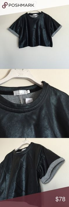 Story of Lola ASOS black crop shirt medium Brand new with tags. So cute with cuffed sleeves. Cropped top with raw edge. Zipper at top shoulder. Bundle to save 25%! ASOS Tops Crop Tops