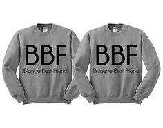 Crewneck gris Blonde meilleur ami Brunette meilleur ami Sweatshirt pull pull Pullover