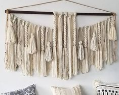 "Large Macrame Wall Hanging - Macrame Curtains - Macrame Wall Art - Macrame Patterns - Wall Tapestry - Home Decor - Woven Wall Art - ""ARYA"" Yarn Wall Art, Yarn Wall Hanging, Large Macrame Wall Hanging, Diy Wall Art, Wall Hangings, Deco Boheme, Macrame Design, Macrame Projects, Macrame Patterns"