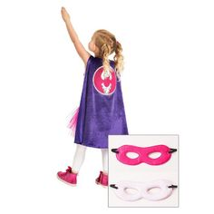 Little Adventures Girl Bat Cape With Hero Mask Fuchsia/White