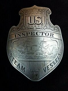 Very rare badge. No makers' mark on this, but I believe this is German Silver which is basically silverplate. Badge is great shape as seen. Law Enforcement Badges, Coast Guard, Gossip Girl, Makers Mark, American History, Police, Patches, Copper, Personalized Items
