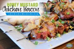 Honey Mustard Chicken Bacon Skewers - Easy to make and perfect for upcoming football parties! Grilled bacon is heaven. Football Parties, Bacon On The Grill, Honey Mustard Chicken, Creole Seasoning, Chicken Bacon, Skewers, Grilling, Heaven