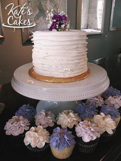 Simple Ruffle Wedding Cutting Cake Buttercream Flower Cupakes Pensacola Florida Kates Cakes