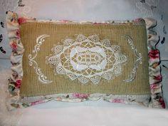 vintage lace quilt pillow