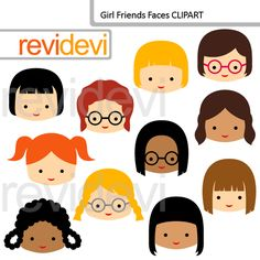 Girl Friends Faces Clipart