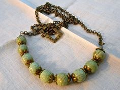 Turquoise Magnesite Bead Necklace Blue-GreenBeads Antiqued Brass Flower End Caps Tiny Rolo Link Chain Nice Layering Necklace Simple Design