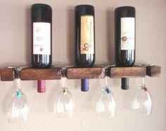 Items similar to Wall Mounted Rustic Wine Rack & Wine Glass Holder - Wine Bottle Holder - Wedding Gift - Christmas Gift - Housewarming Gift on Etsy Wine Bottle Glass Holder, Wine Bottle Wall, Wine Glass Holder, Wine Holders, Wine Bottles, Wood Wall Wine Rack, Rustic Wine Racks, Wine Rack Plans, Hanging Wine Rack