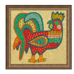 Applique Rooster Framed Textile Wall Decor