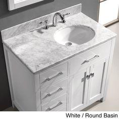Virtu USA Caroline Parkway 36-inch Single-sink Bathroom Vanity Set (Right side drawers w/ White finish and Round Basin), Size Single Vanities