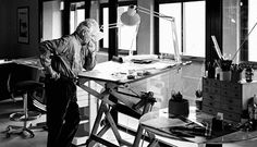 Pierre Paulin, a French furniture and interior designer at work