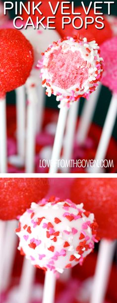 Pink Velvet Cake Pops.  So sweet for Valentine's Day (or great for a gender reveal!).