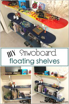 diy SNOWBOARD shelves: an easy tutorial – House of Hepworths Furniture Dolly, Kids Furniture, Furniture Decor, Bedroom Furniture, Furniture Design, Snowboard Bedroom, Mountain House Decor, Creative Kids Rooms, Teen Bedroom Designs