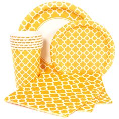 Yellow Quatrefoil Party Supplies. We've got plates, cups, napkins, and table covers!