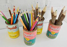 Turn empty soup cans into vintage-inspired desk organizers.