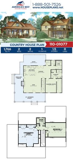 Build rustic with this charming Country design! Plan 110-01077 is fulfilled with 1,766 sq. ft., 2 bedrooms, 2.5 bathroom, a wrap around porch, an additional bonus room, and an open floor plan. Find more details about this plan on our website. Country House Plans, Best House Plans, Floor Plan Drawing, Building Section, Build Your Dream Home, Birds Eye View, Open Floor, Square Feet, Facade