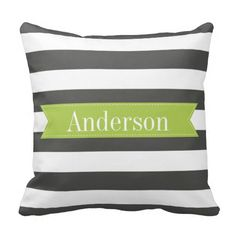 Shop Charcoal Stripes with Lime Custom Monogram Throw Pillow created by thepetitepear. Monogram Pillows, Custom Pillows, Your Design, Custom Design, Duvet Covers, Bed Pillows, Charcoal, Lime, Stripes