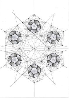 #geometry #symmetry #handmade #pentagon #mathart #regolo54 #circle #disk #hexagon #flowers #polyhedra #solid #Escher #dodecahedron