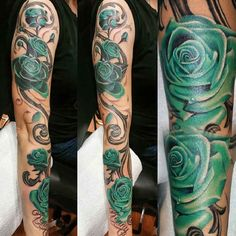 Tattoo green rose blossom Vine   #Tattoo, #Tattooed, #Tattoos
